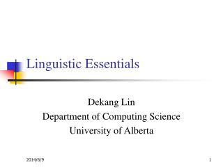 Linguistic Essentials