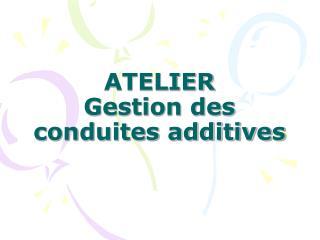 ATELIER Gestion des conduites additives