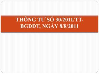 THÔNG TƯ SỐ 30/2011/TT-BGDĐT, NGÀY 8/8/2011