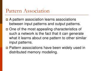 Pattern Association