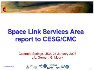 Space Link Services Area report to CESG/CMC