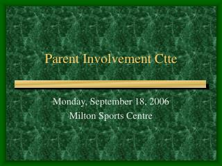 Parent Involvement Ctte