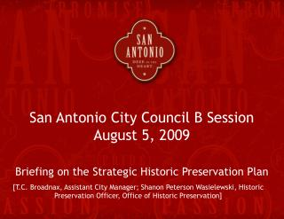San Antonio City Council B Session  August 5, 2009