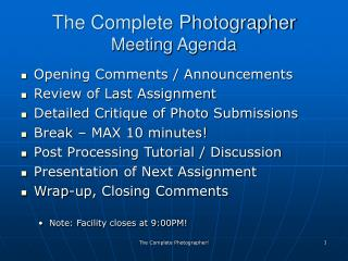 The Complete Photographer Meeting Agenda