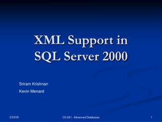 XML Support in  SQL Server 2000