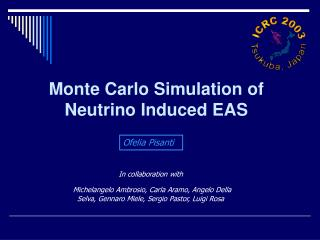 Monte Carlo Simulation of Neutrino  Induced EAS