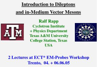 Introduction to Dileptons  and in-Medium Vector Mesons