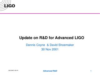 Update on R&D for Advanced LIGO