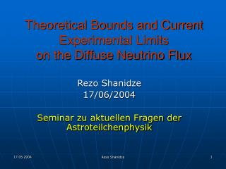 Theoretical Bounds and Current Experimental Limits  on the Diffuse Neutrino Flux