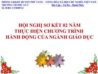 PHÒNG GD&ĐT HUYỆN PHÚ VANG    CỘNG HÒA XÃ HỘI CHỦ NGHĨA VIỆT NAM