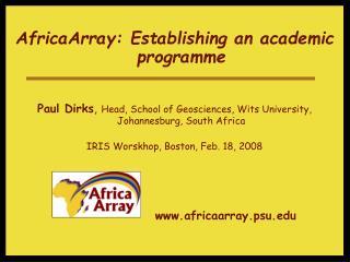 AfricaArray: Establishing an academic programme