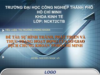 TRƯỜNG ĐẠI HỌC CÔNG NGHIỆP THÀNH PHỐ HỒ CHÍ MINH KHOA KINH TẾ LỚP: NCKT2CTB
