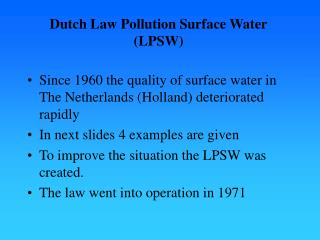 Dutch Law Pollution Surface Water LPSW
