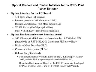 Optical Readout and Control Interface for the BTeV Pixel Vertex Detector