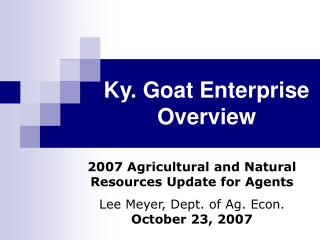 Ky. Goat Enterprise Overview
