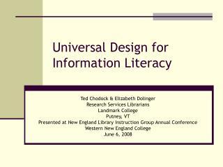 Universal Design for Information Literacy