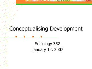 Conceptualising Development