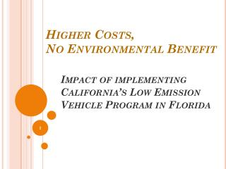 Higher Costs,  No Environmental Benefit