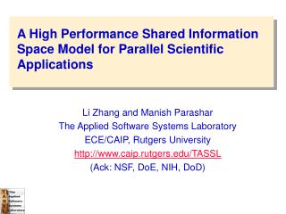 A High Performance Shared Information Space Model for Parallel Scientific Applications