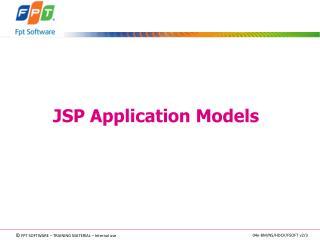 JSP Application Models