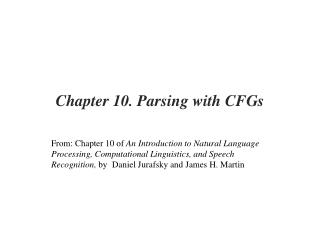 Chapter 10. Parsing with CFGs