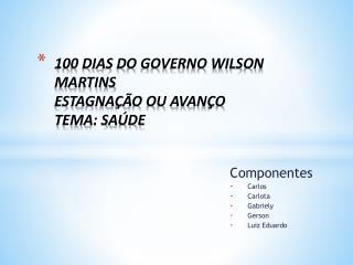 100 DIAS DO GOVERNO WILSON MARTINS  ESTAGNAÇÃO OU AVANÇO TEMA: SAÚDE
