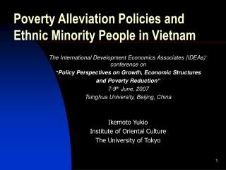 Poverty Alleviation Policies and  Ethnic Minority People in Vietnam