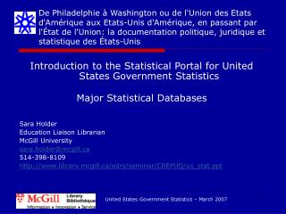 Introduction to the Statistical Portal for United States Government Statistics