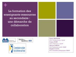 La formation des  enseignants-ressources  au secondaire :  une démarche de collaboration