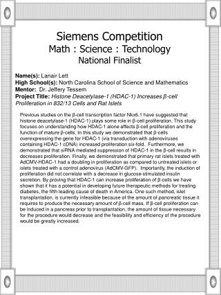 Name(s):  Lanair Lett High School(s):  North Carolina School of Science and Mathematics