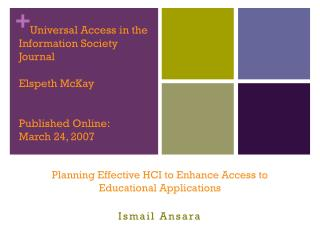 Planning Effective HCI to Enhance Access to Educational Applications Ismail  Ansara