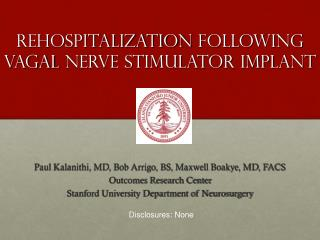 Rehospitalization  following  vagal  nerve stimulator implant