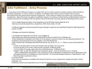 DAU Fulfillment – Army Process
