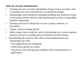 Tasks of a System Administrator