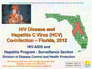 HIV Disease and  Hepatitis C Virus (HCV) Co-Infection – Florida,  2012