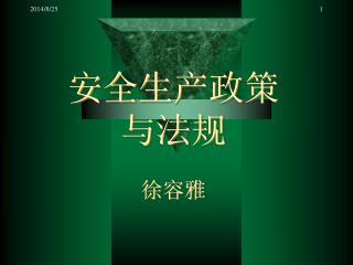 安全生产政策 与法规 徐容雅