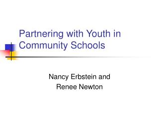 Partnering with Youth in Community Schools