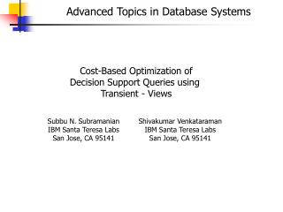 Advanced Topics in Database Systems
