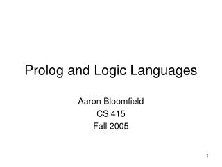 Prolog and Logic Languages