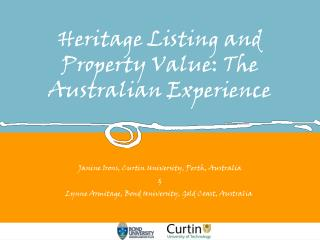 Heritage Listing and Property Value: The Australian Experience