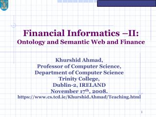 Financial Informatics –II: Ontology and Semantic Web and Finance