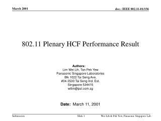 802.11 Plenary HCF Performance Result
