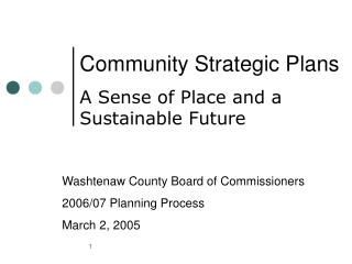 Community Strategic Plans A Sense of Place and a Sustainable Future