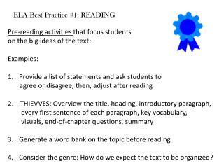 ELA Best Practice 1: READING