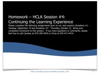 Homework: Recap of HCLA Session Three