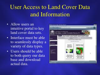 User Access to Land Cover Data and Information