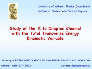 Study of the    to Dilepton Channel with the Total Transverse Energy Kinematic Variable