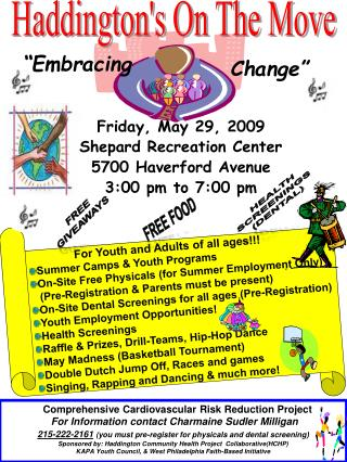 Friday, May 29, 2009 Shepard Recreation Center 5700 Haverford Avenue 3:00 pm to 7:00 pm