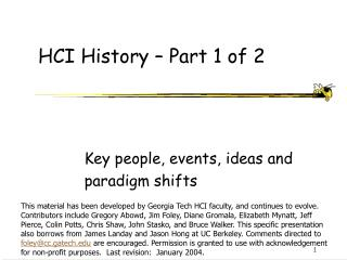 HCI History – Part 1 of 2