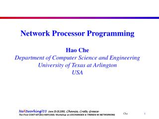 Network Processor Programming Hao Che Department of Computer Science and Engineering